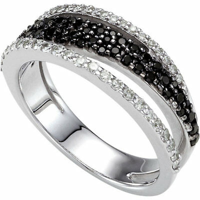 Noir Spinelle & Diamant Bague 14K or Blanc (1/3 Ct. Tw