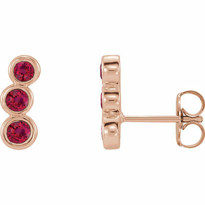 Chatham Created Ruby Three-Stone Ear Climbers In 14K Rose Gold