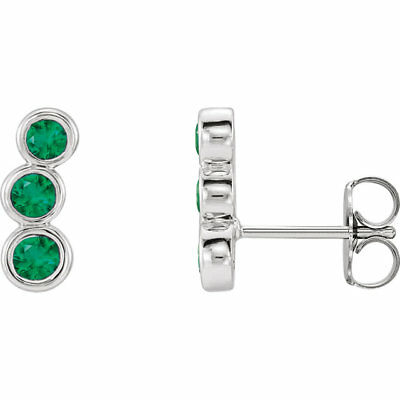 Chatham Created Emerald Three-Stone Ear Climbers In 14K White Gold
