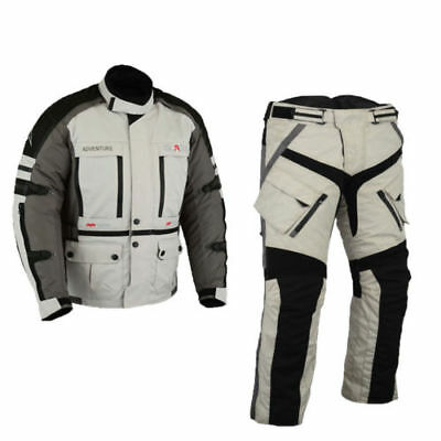 Grey Textile Tour Jacket + Trousers, Biker with Protectors + Trousers