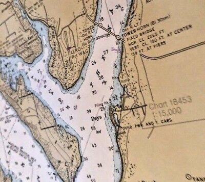 Large NOAA Nautical Chart Map Sea Ocean 44x36 Puget Sound Seattle Olympia 18448