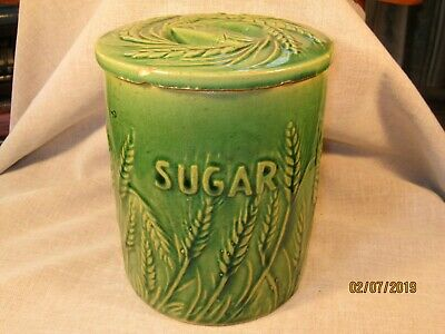 Early Green Glazed Yellow Ware Hull Pottery Sugar Crock / Canister / Marked