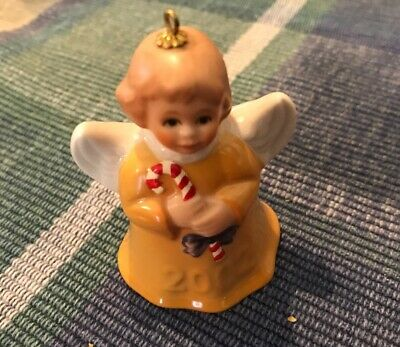Goebel Angel Bell Annual Ornament 2002 Vintage Germany Yellow with Candy Cane
