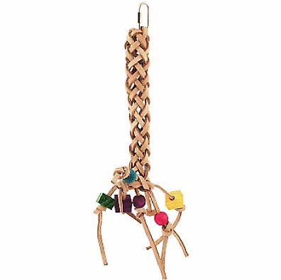 Leather Plait Parrot Toy - A Woven Leather ToyTo Go Chewing And Foraging In