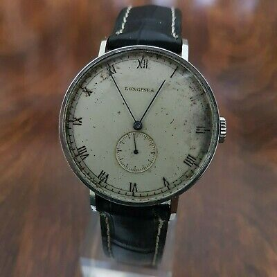 VINTAGE RARE LONGINES 1940s OVERSIZED STAINLESS STEEL UNUSUAL SIZE