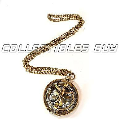 Nautical Pocket Compass Shiny Brass Sundial Compass With Chain Lover - Gift