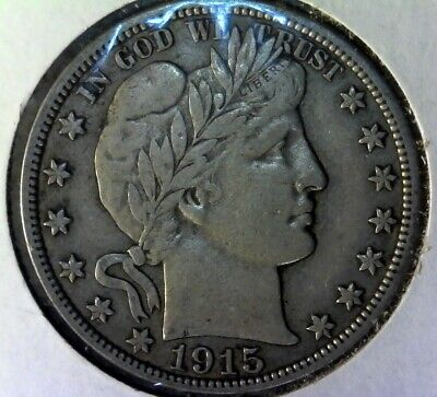 1915 S US Barber Half Dollar 50C Coin 90% Silver YOU GRADE NO RESERVE!