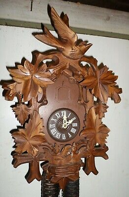 Rare Deeply Carved German Bachmeier Black Forest 8 Day Chicks Nest Cuckoo Clock!