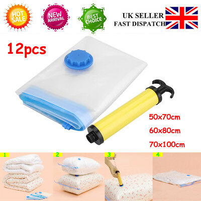 12 Pack Large Vacuum Compressed Space Saving Clothes Storage Bags with Pump NEW