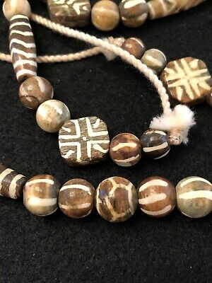 Tibet Fossilized Palm Wood/ Pumtek / Fozhu Dzi / Buried Thunderbolt Bead Strand