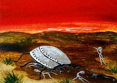 ACEO Original Halloween Painting Art Aliens UFO Roswell New Mexico landscape