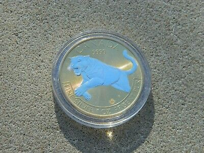 2016 Canada $5 Wild Life Series Cougar 1 Oz .9999 Silver With Gold Over Two Tone