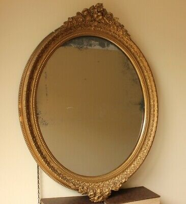Antique Rococo Gesso Gilt Wall Mirror. 19th Century Victorian Gold Ornate Foxed