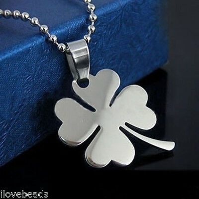 Womens Fashion Four Leaf Clover Silver Pendant Statement Necklace Jewelry 49cm