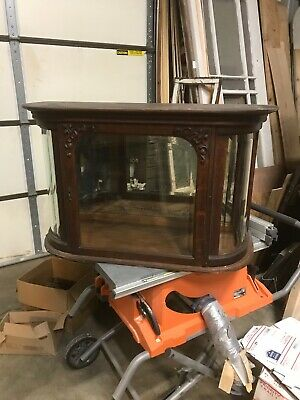 Antique oak curved beveled glass table top display case 38.5 x 23.25 x 15.75