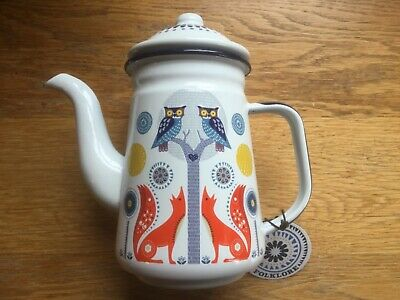 Enamel coffee pot Folklore brand with owls and foxes. BNWT.