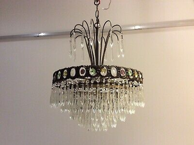 FANTASTIC  RARE Antique French 5-tier Icicle Crystals 'waterfall' Chandelier.