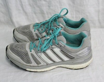 057b15204 Womens Adidas Supernova Sequence Boost Running Shoes Gray White Teal size 9