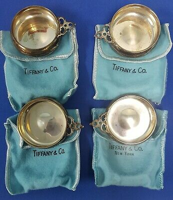 Tiffany & Co. Sterling Silver Set of 4 Porringer Salt Cellars w Pouch & Red Box