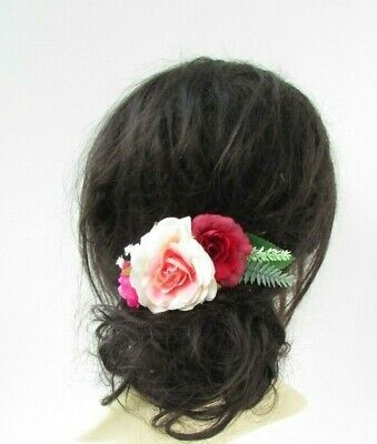 Red Cream Hot Pink Green Leaves Rose Flower Hair Comb Fascinator Floral 7049