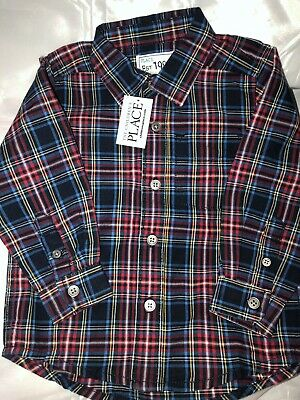 The Childrens Place Boys Shirt 18-24 Mo Multi Color Plaid Long Sleeve Button Up