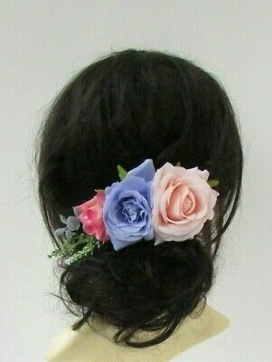 Lilac Peach Hot Pink Rose Flower Hair Comb Fascinator Floral Bridesmaid 7050