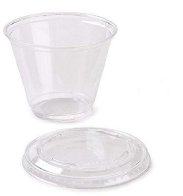 150 ml Recyclable Plastic dessert cups with lids and spoons x 50