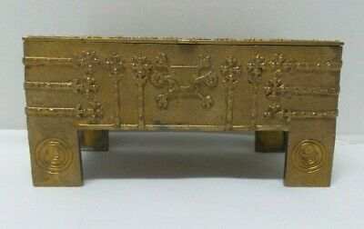 Antique Ornate Footed Gilt Bronze/Brass Jewelry Treasure Chest Box Casket