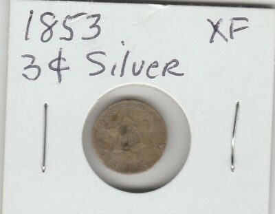1853 Three Cent Silver Coin XF