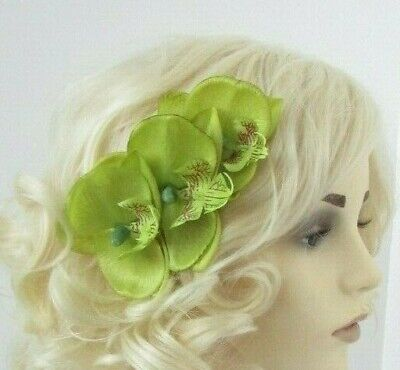 Lime Green Orchid Flower Hair Comb Bridesmaid Wedding Fascinator Floral 7056
