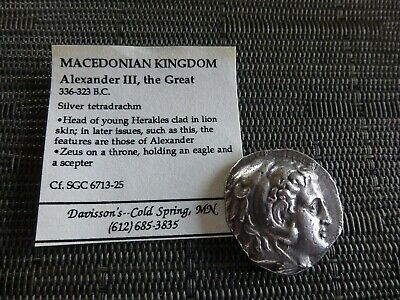 Ancient Coin Kingdom of Macedon Silver Tetradrachm Alexander III, the Great 16g