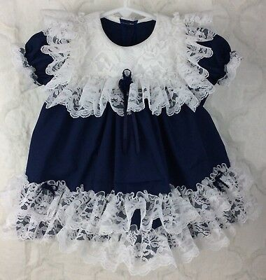 Vintage Style Girls Size 18 Month Navy Blue White Ruffle Lace Custom Dress