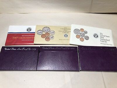 1989, 1991,1992 Proof Sets 1987,1990. 1992 Uncirculated Coin Sets US Mint