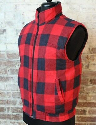 VTG Buffalo Plaid Insulated Vest Full Zip Red Black Check Flannel Open Trails M