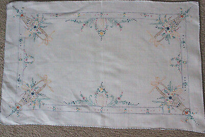 Vintage off-white linen hand embroidered flowers and baskets tray cloth.