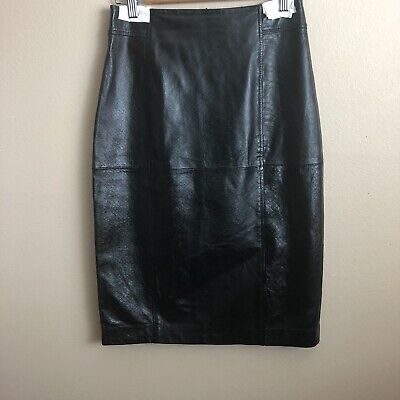 a36ae34e4c HALOGEN SZ 8 Straight Pencil Skirt Black Textured Lined Faux Leather ...