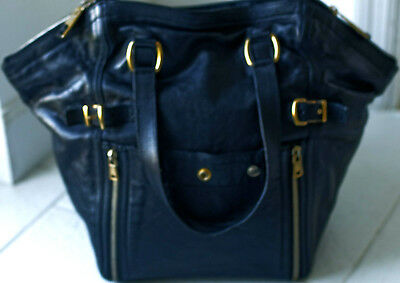 2562fb1efe68 100% GENUINE YVES SAINT LAURENT YSL Black Leather Downtown Large Tote Bag  Purse