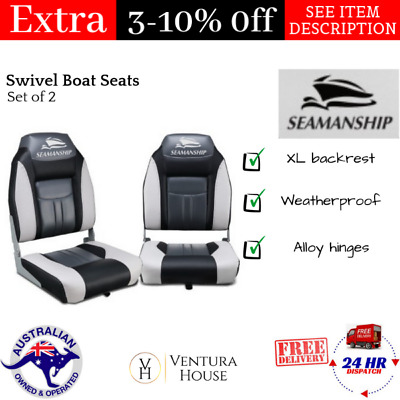 Folding Swivel Boat Seats Marine Fishing Bench Set of 2 Seamanship Grey & Black