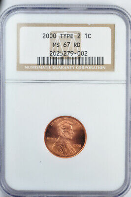 2000 1c Lincoln Cent Memorial Reverse MS67RD Wide AM
