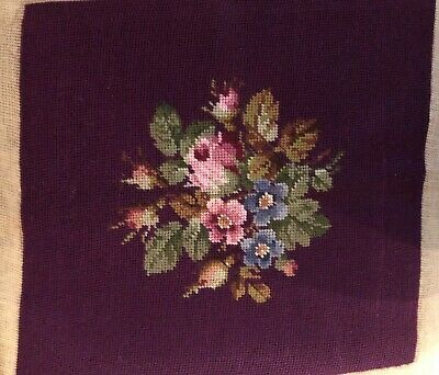 Completed Vintage Floral Flowers Finished Needlepoint Canvas Chair Pillow