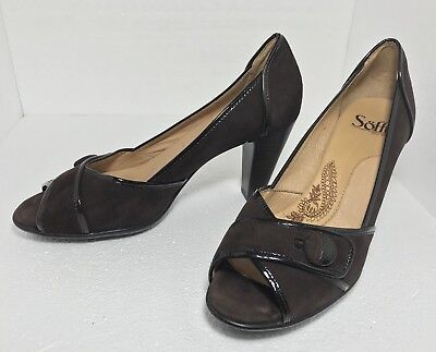 d44dbf1fd5b Sofft Women s Size 8.5 Open Toe Pumps Brown Suede Leather Peep Toe High  Heels