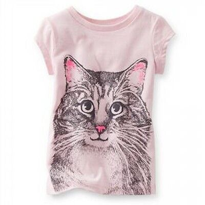 Carter's Baby Girl T-shirt Top Outfit Pink Cat Print Genuine Cotton NEW