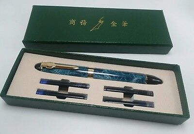 JINHAO X450A Fountain Pen Medium NIB BLUE GREY MARBLE Gift Box