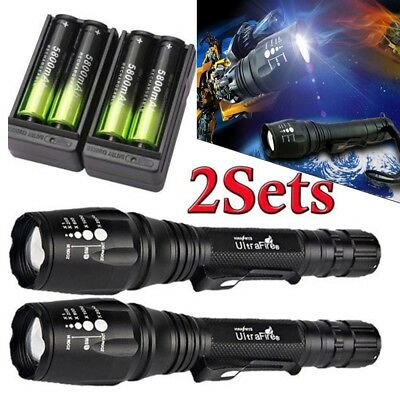 2Sets 50000LM T6 Zoomable LED Flashlight Torch Lamp 18650 Battery+Charger USA