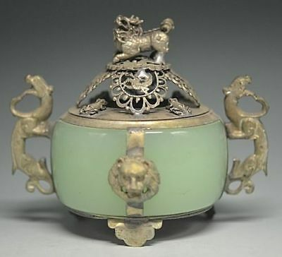 Collectible CHINESE SILVER COPPER INLAID JADE DRAGON LION INCENSE BURNER