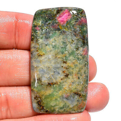 71.7 Ct. Natural Ruby Fuchsite Rectangle Cabochon Gemstone For Jewelry AK-9341