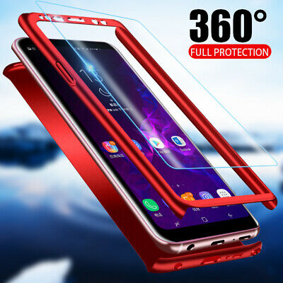 For Samsung Galaxy S9 S8 Plus S7 360° Full Cover Hybrid Hard Case+Tempered Glass