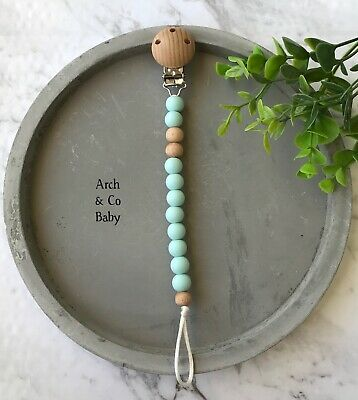 Silicone beaded dummy clip Beech Wood pacifier chain binky clips soother holder
