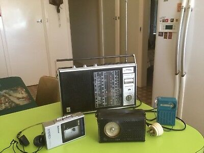 3 X Old Transistor Radio Plus Radio Cassette - Player With Ear Phone