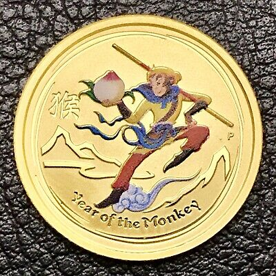 2016 P Colorized Australia Year of The Monkey 1/10 oz Gold .9999 BU With Capsule